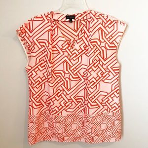 The Limited Pink/Orange Geometric Short Sleeve Top